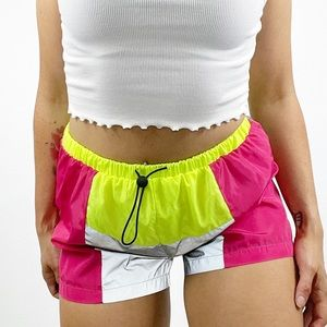 Daisy Metallic Colorblock Neon Shorts Size Medium